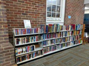 Never ending book sale shelves